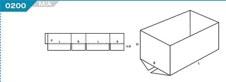 Pudełka klapowe z Katalogu FEFCO. Pudła zrobione są z jednego kartonu z możliwością zamykania od góry i dołu przez zastosowanie klap. Oznaczenie 200 M/A