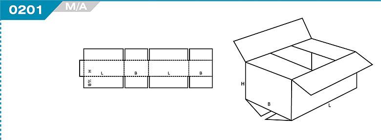 Pudełka kartonowe z Katalogu FEFCO. Pudła zrobione są z jednego kartonu z możliwością zamykania od góry i dołu przez zastosowanie klap. Oznaczenie 201 M/A