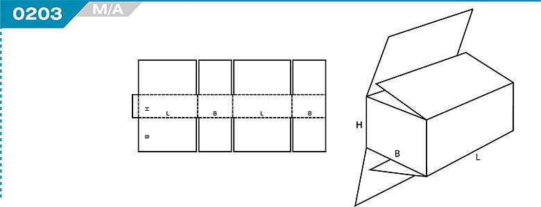 Pudełka kartonowe z Katalogu FEFCO. Pudła zrobione są z jednego kartonu z możliwością zamykania od góry i dołu przez zastosowanie klap. Oznaczenie 204 M/A