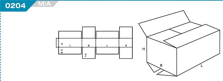 Pudełka kartonowe z Katalogu FEFCO. Pudła zrobione są z jednego kartonu z możliwością zamykania od góry i dołu przez zastosowanie klap. Oznaczenie 203 M/A
