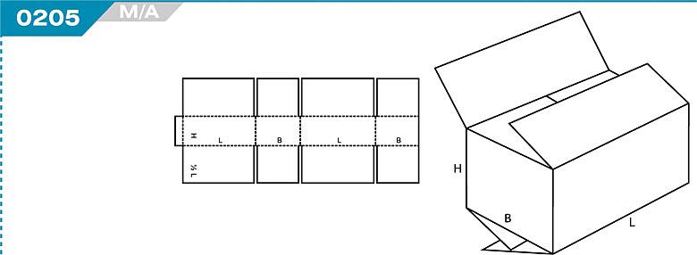 Pudełka klapowe z Katalogu FEFCO. Pudła zrobione są z jednego kartonu z możliwością zamykania od góry i dołu przez zastosowanie klap. Oznaczenie 205 M/A
