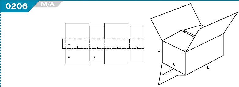 Pudełka kartonowe z Katalogu FEFCO. Pudła kartonowe zrobione są z jednego kawałka tektury z możliwością zamykania od góry i dołu przez zastosowanie klap. Oznaczenie 206 M/A