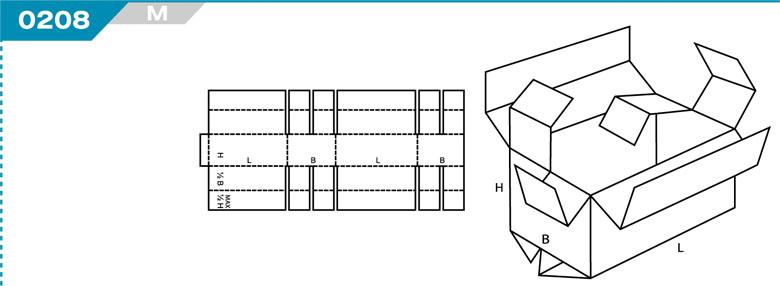 Pudełka kartonowe z Katalogu FEFCO. Pudła zrobione są z jednego kartonu z możliwością zamykania od góry i dołu przez zastosowanie klap. Oznaczenie 206 M