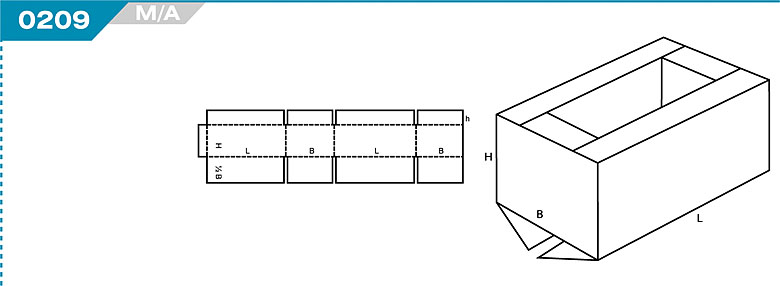 Pudełka kartonowe z Katalogu FEFCO. Pudła zrobione są z jednego kartonu z możliwością zamykania od góry i dołu przez zastosowanie klap. Oznaczenie 209 M/A