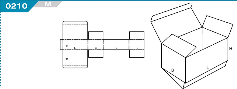 Pudełka klapowe z Katalogu FEFCO. Pudła zrobione są z jednego kartonu z możliwością zamykania od góry i dołu przez zastosowanie klap. Oznaczenie 210 M