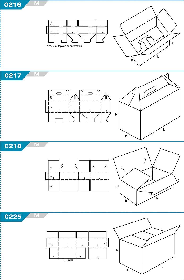 Pudełka kartonowe z Katalogu FEFCO. Pudła zrobione są z jednego kartonu z możliwością zamykania od góry i dołu przez zastosowanie klap. Oznaczenie 216 M, 217 M, 218 M, 225 M