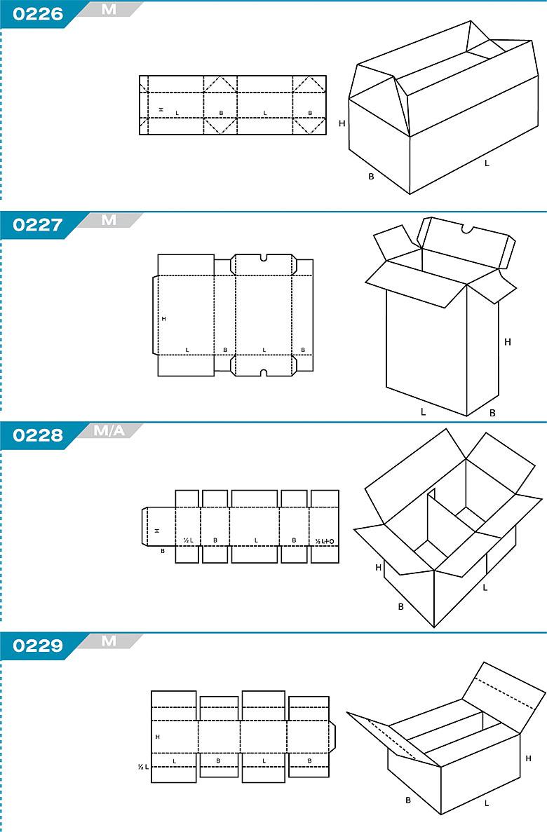 Pudełka kartonowe z Katalogu FEFCO. Pudła zrobione są z jednego kartonu z możliwością zamykania od góry i dołu przez zastosowanie klap. Oznaczenie 226 M, 227 M, 228 M/A, 229 M