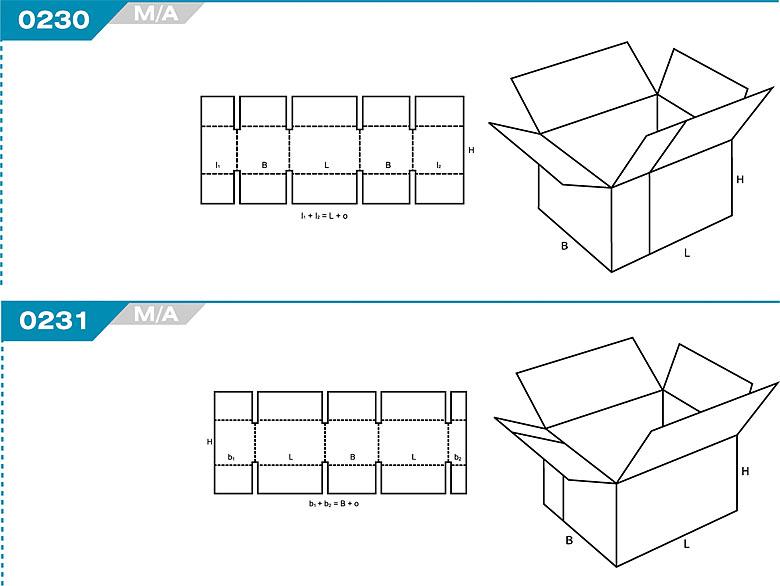 Pudełka klapowe z Katalogu FEFCO. Pudła zrobione są z jednego kartonu z możliwością zamykania od góry i dołu przez zastosowanie klap. Oznaczenie 230 M/A, 231 M/A