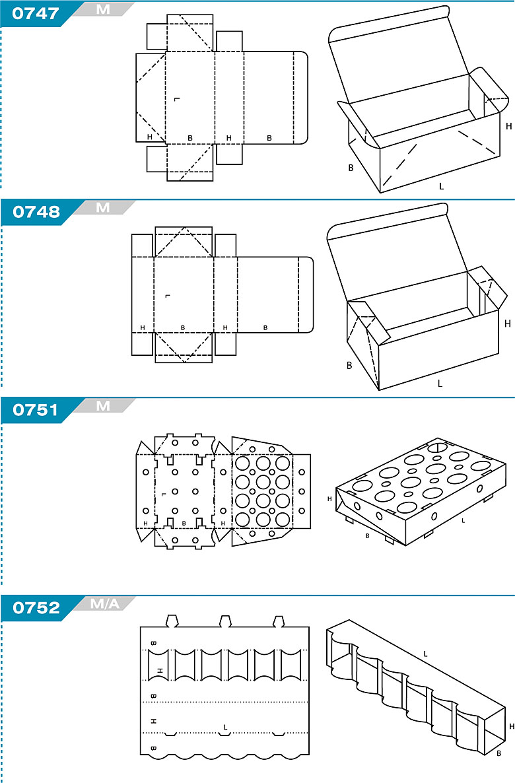 FEFCO 0747 - pudełka jednoczęściowe