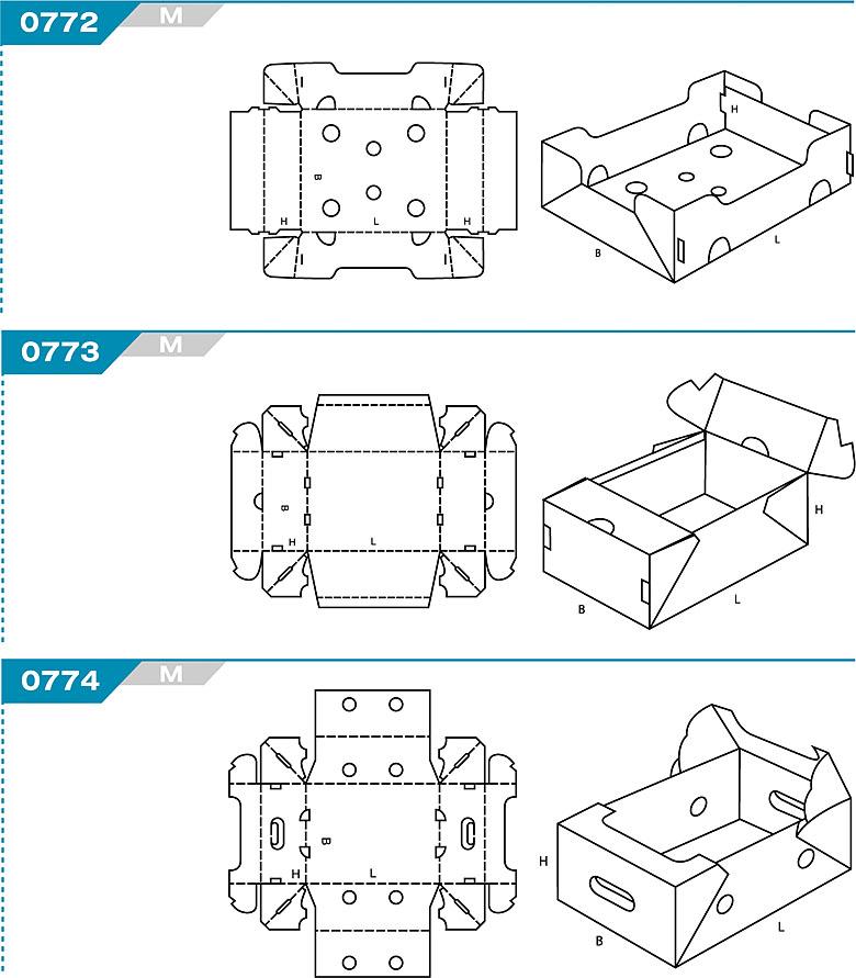 FEFCO 0772 - pudełka jednoczęściowe