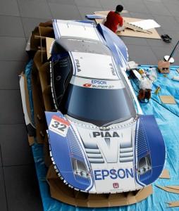Samochód Honda NSX z kartonu - dach
