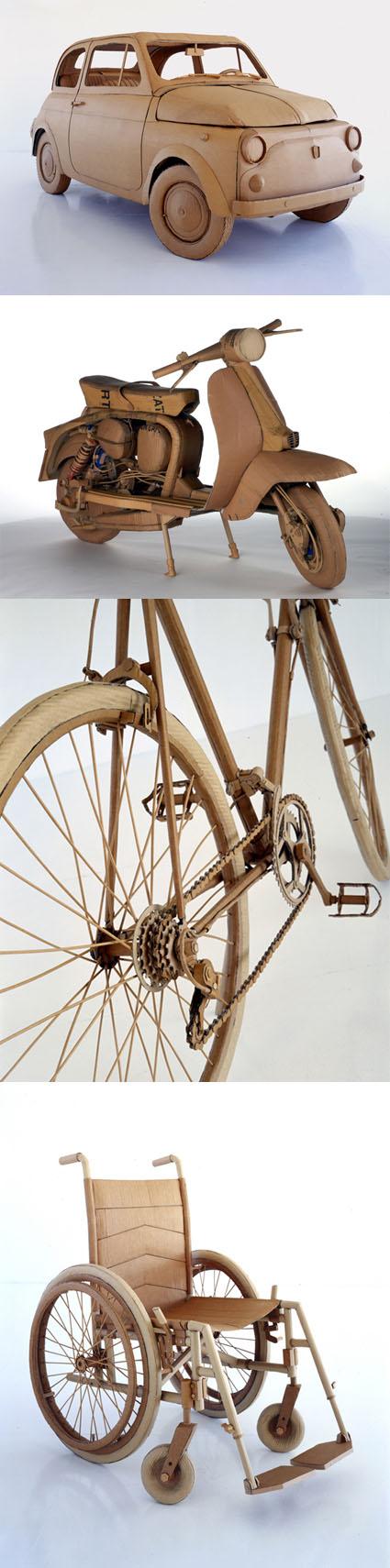 Samochód, skuter, rower wykonane z kartonu